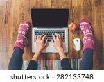 workspace in home  fingers on... | Shutterstock . vector #282133748