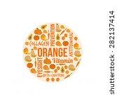 orange vegetables and fruits... | Shutterstock .eps vector #282137414