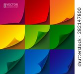 set of curled rainbow paper... | Shutterstock .eps vector #282147800