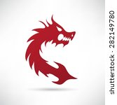 Red Dragon On A White Background