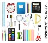 set of school supplies isolated ...   Shutterstock .eps vector #282163454
