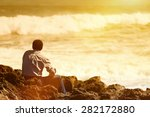 rear  view of pensive ... | Shutterstock . vector #282172880