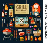 grill  barbecue icons. set of... | Shutterstock .eps vector #282175130