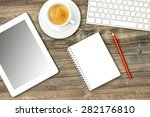 digital tablet pc  keyboard and ... | Shutterstock . vector #282176810