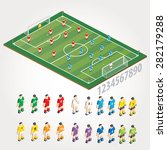 vector soccer field and players. | Shutterstock .eps vector #282179288