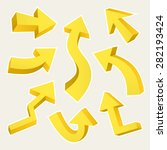 3d yellow arrows set isolated...