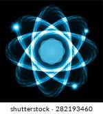 dark blue shining atom scheme....   Shutterstock .eps vector #282193460