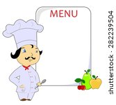 illustration with cook and menu.... | Shutterstock . vector #282239504