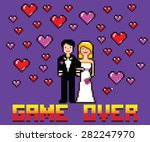 wedding funny card with game... | Shutterstock .eps vector #282247970
