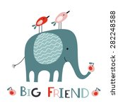 big friend. elephant and two... | Shutterstock .eps vector #282248588