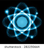 dark blue shining atom scheme....   Shutterstock .eps vector #282250664