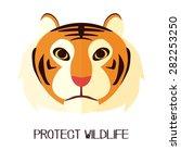 flat tiger wildlife protection | Shutterstock .eps vector #282253250