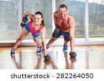 gym man and woman push up... | Shutterstock . vector #282264050