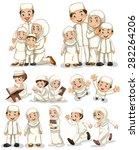 muslim people doing activities   Shutterstock .eps vector #282264206
