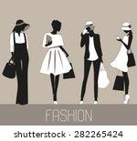 Silhouettes Of Fashion Women....