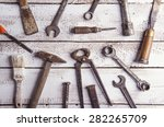 desk of a carpenter with... | Shutterstock . vector #282265709