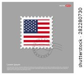 Usa America Flag Postage Stamp...