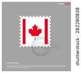canada flag postage stamp on... | Shutterstock .eps vector #282280838