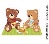 bears on a picnic vector... | Shutterstock .eps vector #282281603