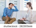 psychologist talking with happy ... | Shutterstock . vector #282305666