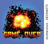 game over boom message pixel... | Shutterstock .eps vector #282346073