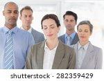 business team relaxing eyes... | Shutterstock . vector #282359429