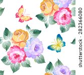 seamless pattern roses and... | Shutterstock .eps vector #282366080