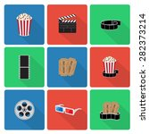 flat cinema icons with long... | Shutterstock . vector #282373214