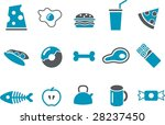 Vector icons pack - Blue Series, food collection - stock vector