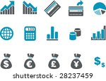 Vector icons pack - Blue Series, money collection - stock vector