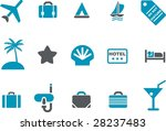 Vector icons pack - Blue Series, vacation collection - stock vector