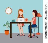 coworking design over blue... | Shutterstock .eps vector #282380414