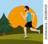 fitness design over landscape...   Shutterstock .eps vector #282380420