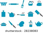 Vector icons pack - Blue Series, cooking tools collection - stock vector