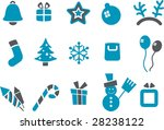 Vector icons pack - Blue Series, Xmas collection - stock vector