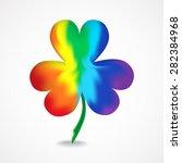rainbow shamrock with shadow on ... | Shutterstock .eps vector #282384968