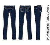 woman slim fit denim jeans... | Shutterstock .eps vector #282389099