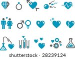 Vector icons pack - Blue Series, s.valentine collection - stock vector