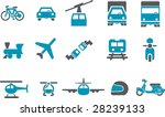 Vector icons pack - Blue Series, transport collection - stock vector