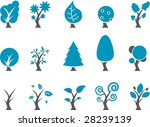 Vector icons pack - Blue Series, tree collection - stock vector