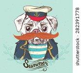 illustration of pirate pug dog... | Shutterstock .eps vector #282391778