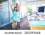 smiling partners having fun in... | Shutterstock . vector #282393668