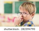 chalkboard  boy  child. | Shutterstock . vector #282394790