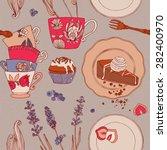 afternoon tea. seamless pattern. | Shutterstock .eps vector #282400970