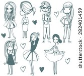 cute girls illustration set