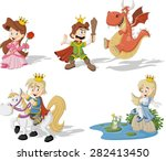 cartoon princesses and princes... | Shutterstock .eps vector #282413450