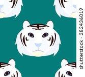 white tiger head seamless... | Shutterstock .eps vector #282436019