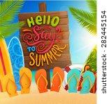 ocean and beach sand. wooden... | Shutterstock .eps vector #282445154