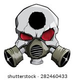 Vector Skull With Gas Mask And...