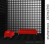 black interior with red sofa | Shutterstock .eps vector #282461543